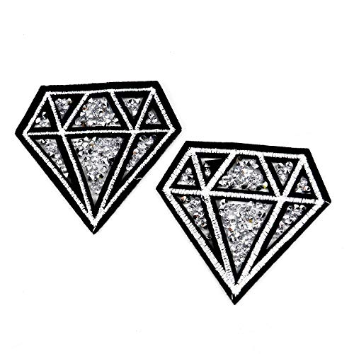 Pomeat 5PCS Clear Diamond Iron on Applique Patches Transfer