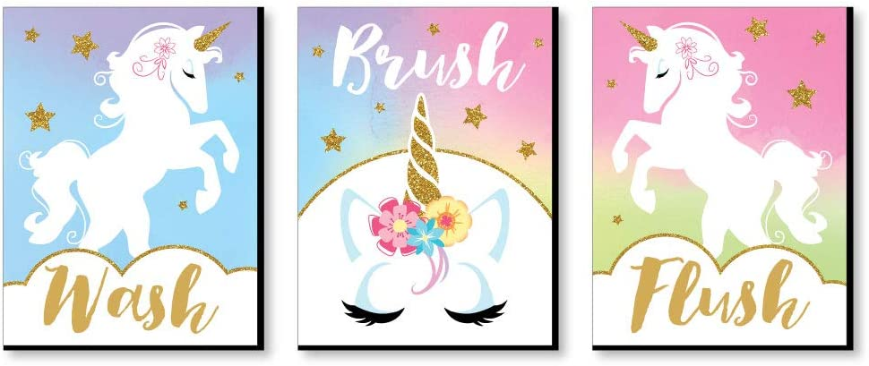 Big Dot of Happiness Rainbow Unicorn - Kids Bathroom Rules Wall Art - 7.5 x 10 inches - Set of 3 Signs - Wash, Brush, Flush