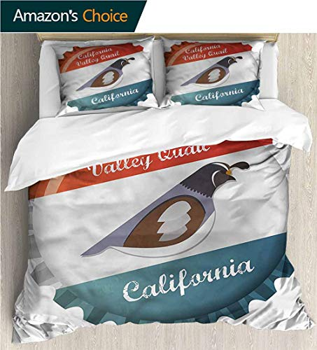carmaxs-home Print Comforter Quilt Set,Box Stitched,Soft,Breathable,Hypoallergenic,Fade Resistant with 2 Pillowcase for Kids Bedding-Quail California Valley Graphic (79