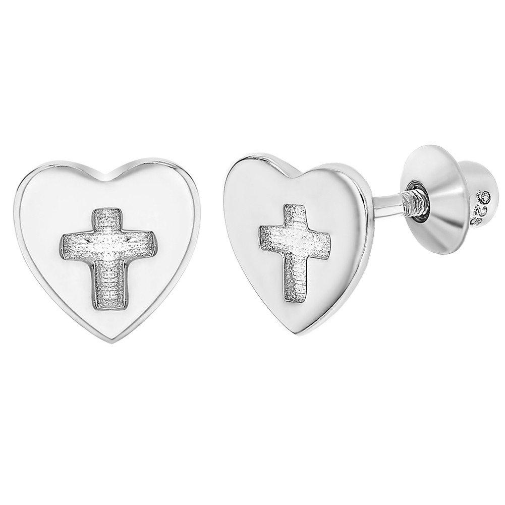 925 Sterling Silver Screw Back Cross Heart Earrings Babies Toddlers Girls In Season Jewelry