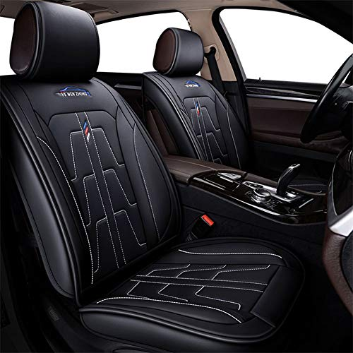 Skysep Car Seat Covers, Leatherette Seat Covers Waterproof Breathable 5 Seats Full Set Front Back Cover - Fit Most Car, SUV, or Van (Black-White)