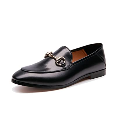 e3dcc8887 Honeystore Women's Penny Loafer Leather Buckle Flats Shoes Black 5.5 B(M) US