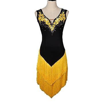 MoLiYanZi Escote en V Baile Latino Falda de Flecos para Mujer ...