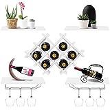 Giantex Set of 5 Wall Mount Wine Rack Set w/Storage Shelves and Glass Holder (White)