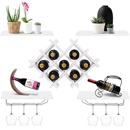 Giantex Set of 5 Wall Mount Wine Rack Set w/Storage Shelves and Glass Holder ()