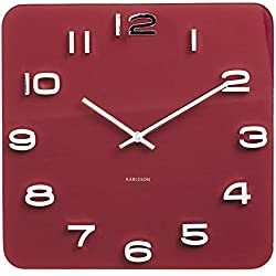 Glass Wall Clock Vintage Burgundy Red Square