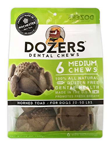 Dozers Dental Dog Chews - 100% All Natural Ingredients - Gluten Free Dental Healthy Delicious Dog Treat - Promotes Fresh Breath (Toad Medium, 1 Bag)