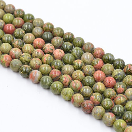 (Asingeloo Flower Green Natural Stone Gemstone Loose Round Beads 15.7 Inch 6mm Crystal Energy Stone Healing Power for Jewelry Making)
