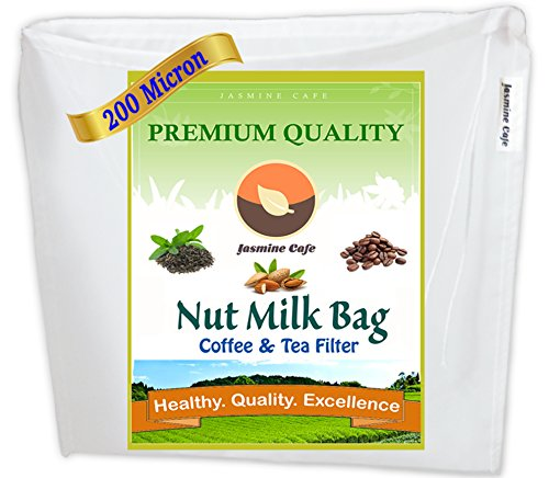 "[13""x13""] 200 Micron Fine Mesh - Commercial Grade Jasmine Cafe Nut Milk Bag & Cold Brew Strainer for Coffee & Tea – Reusable & Eco-Friendly - 100% Safe to Use - Commercial and Household"