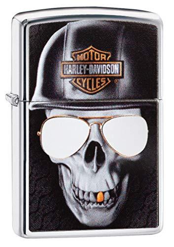 (Zippo 29739 Harley-Davidson High Polish Chrome Skull Windproof Lighter)