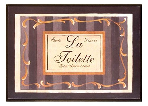 The Stupell Home Decor Collection La Toilette Hotel Champs Elysees Black and Gold Bathroom Wall Plaque