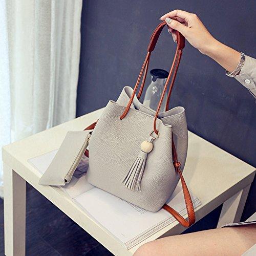 Bags Clutch JAGENIE Tote 2pcs Purse Bag Blue Shoulder Messenger Handbag Fashion Deep Gray Small Women TAFqAwPR