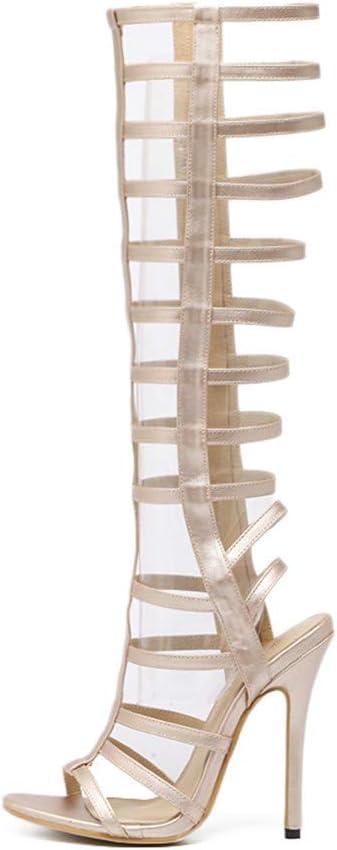 SUKDO Sandalias Tacón De Aguja para Mujer Sandalias De Tacón Alto Gladiador De Cuero Botas con Cremallera Zapatos Romanos De Punta Abierta para Vestido De Fiesta Primavera Verano,Beige,EU40