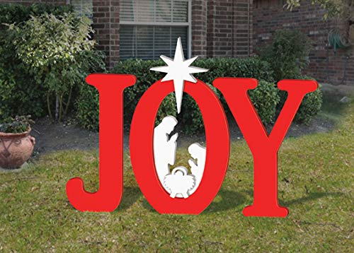 Front Yard Originals Outdoor RED Joy Nativity Display]()