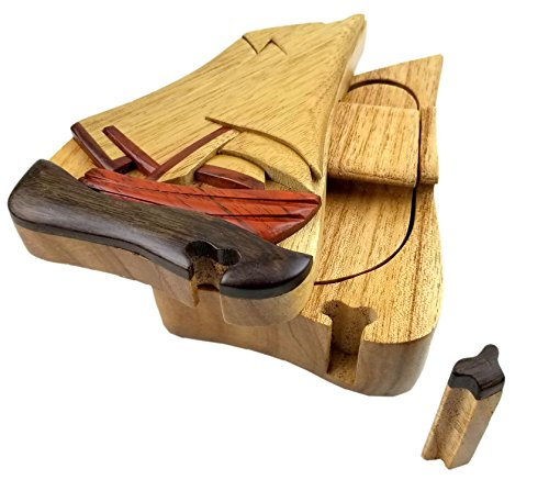 (Sail Boat All Natural Exotic Woods Puzzle Box, 5.5 x 4 x 2.25 with Sliding Wooden Key Lock, Sliding Cover and Inner Lid to Hidden Compartment. Hand-made Wood Onlay Design on Lid.)