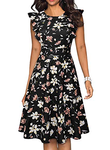 YATHON Cocktail Dress for Women Plus Size Retro Ruffles Black Flower Print Casual A Line Swing Church Teens Flare Sleeves Prom Vintage Dresses (XL, YT001-Black Floral)