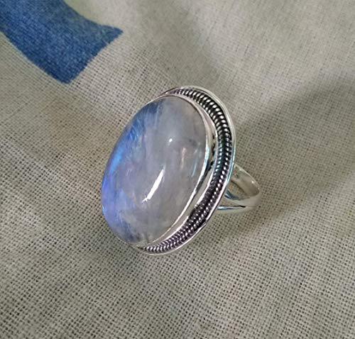 Natural Moonstone Ring Rainbow Moonstone Designer Ring Promise Ring 925 Sterling Silver Ring Handmade Silver Ring Gift for her