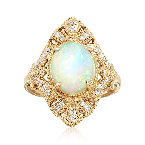 (Ross-Simons 9x11mm Opal Ring With .22 ct. t.w. Diamonds in 18kt Yellow Gold)