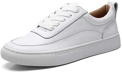LEEPO Women's White Leather Sneakers
