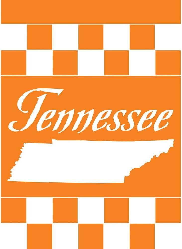 Tennessee State Silhouette Orange White Checkerboard 13 x 18 Small Garden Flag