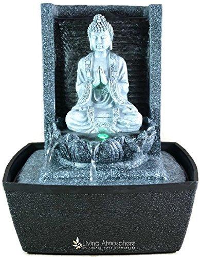 Zimmerbrunnen Innenbrunnen Feng Shui Buddha Meditierend LED Farb Beleuchtung 26 cm