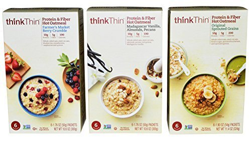 ThinkThin Protein and Fiber Hot Oatmeal Variety Pack of 3