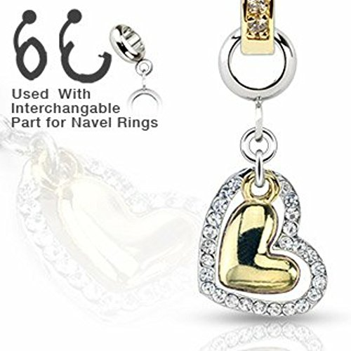 Heart Belly Gold Dangle (Add-On Charm Multi Clear Gem Gold IP Heart Dangle Charm for Navel Rings, Dermal Anchors Labret cz top not included)