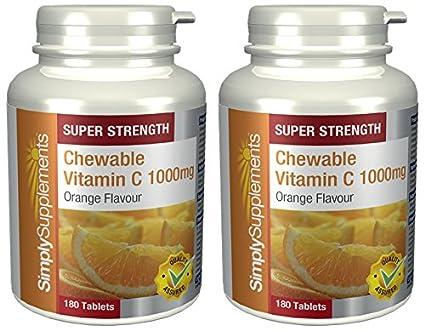 Vitamina C Masticable 1000mg -2 frascos de 180 comprimidos - Hasta 1 año de suministro