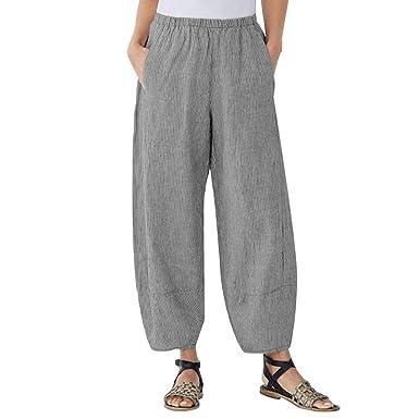 8b1fba8382 BBesty Save 15% Women's Plus Size Soild Color Comfort Straight Wide Leg  Loose Striped Pocket