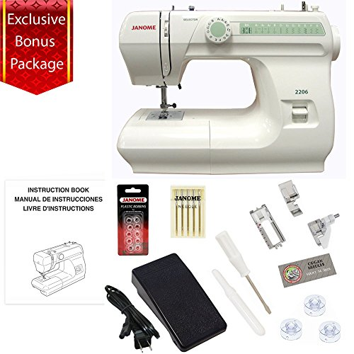 Janome 2206 860spm 6 Stitch Full Size Free Arm Sewing Machine with Bundle