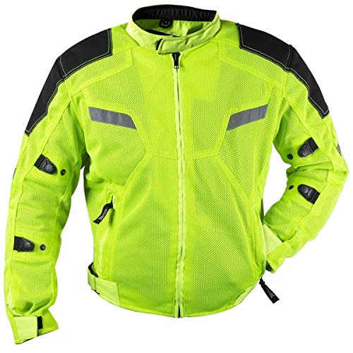 Xelement XS1792 'Yield' Men's High-Viz All Weather Mesh Level 3 CE Armored Motorcycle Jacket (Hi-Viz, Large) - Motorcycle Reflective Cordura Textile Jacket