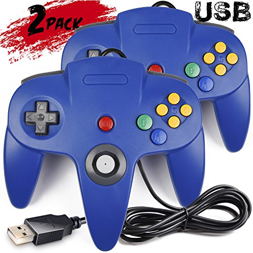 2 Pack iNNEXT Classic Retro N64 Bit USB Wired Controller for Windows PC MAC Linux Raspberry Pi 3 (Blue) (Compatibility Mac Pc)