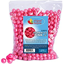 Gumballs in Bulk - Pink Gumballs for Candy Buffet - Gumballs 1/2 Inch - Shimmer Gumballs, Bulk Candy 2 LB