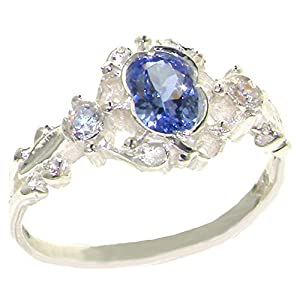 925 Sterling Silver Natural Tanzanite and Diamond Womens Trilogy Ring Sizes 4 to 12 Available