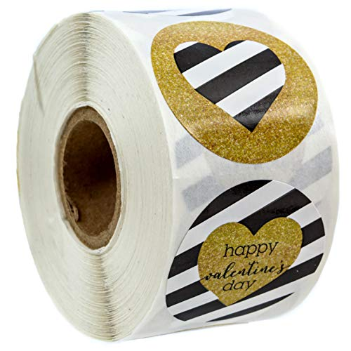 Faux Glitter Happy Valentines Day Stickers - 1.5 Circle Labels / 500 Stickers per Pack
