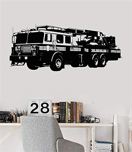 Mausae Removable Vinyl Wall Stickers Act Mural Decal Art Home Decor Fire Truck Engine Firetruck Boys Room