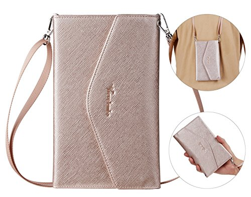 Travelambo Rfid Blocking Passport Holder Wallet & Travel Wallet Envelope 7 Colors (rose gold with neck/wrist strap)