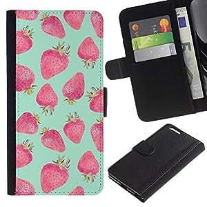 KingStore / Leather Etui en cuir / Apple Iphone 6 PLUS 5.5 / Vert Rouge Aquarelle