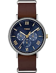 Timex Mens TW2R81900 Southview 41 Multifunction Brown/Blue Leather Slip-Thru Strap Watch