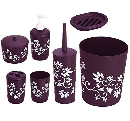 7 pc purple bathroom set soap dish dispenser tumbler toothbrush holder printed by funkybuys