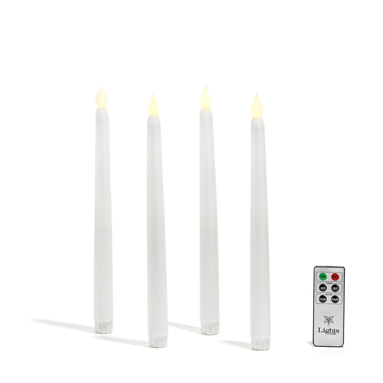 White Wax Flameless Taper Candles Set of 4 Warm White LEDs 10 inches Batteries Remote Included LampLust's Vigil Collection