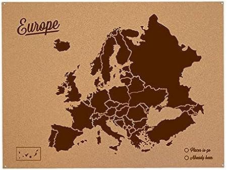 Miss Wood Mapa de Europa de Corcho, Pino, Marrón, L-45x60CM ...