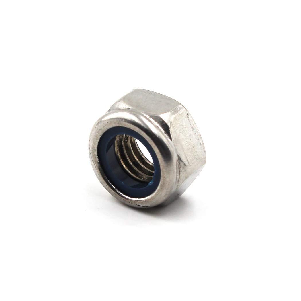 50 piezas M3 Tuerca de seguridad hexagonal m/étrica 304 Inserto de nylon de acero inoxidable