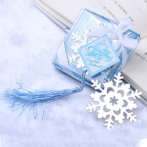 50pcs Snowflake Bookmarks Party Gifts Wedding Favors for Guests