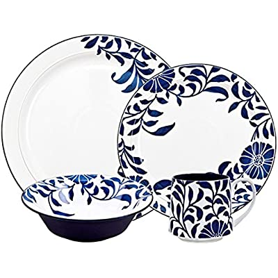 Click for Denby Malmo Bloom 4 Piece Place setting, Medium, Blue