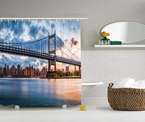 JAKE SAWYERS New York City Decor Shower Curtain, Kennedy Triboro Bridge and...