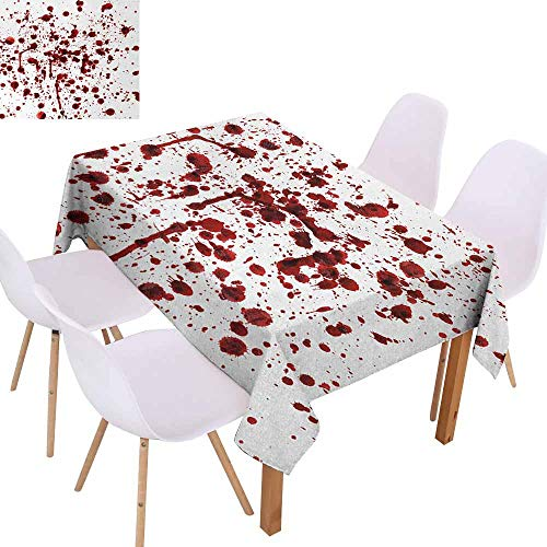 UHOO2018 Horror,Indoor/Outdoor Tablecloth,Splashes of Blood Grunge Style Bloodstain Horror Scary Zombie Halloween Themed Print,Great for Tabletop Decoration,Red White,70