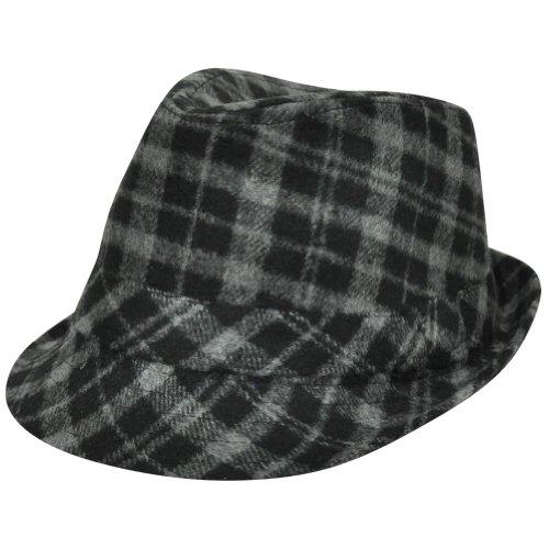 [Plaid Fedora One Size Fit Fedora Trilby Ganster Diamond Top Mens Hat Grey Black] (Ganster Hat)