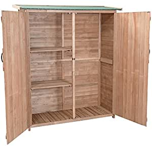 """64"""" Wooden Double Door Storage Shed Locker Outdoor Patio Garden Cabinet Fir Wood Construction Waterproof Anti-Corrosion Large Storage Space Watering Can Hoses Spades Pots Ladder Tools Storage"""