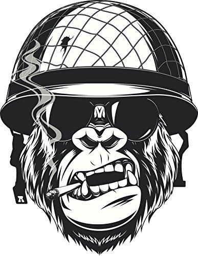 (Cool Black and White Gorilla Monkey Soldier Cartoon Vinyl Decal Sticker (4